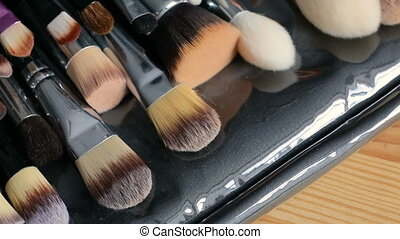 Make-up brushes collection - Close up of professional make...