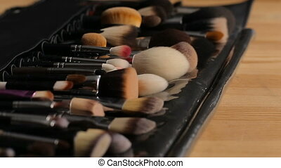 Side view image of high quality make up brushes. Beauty concept.
