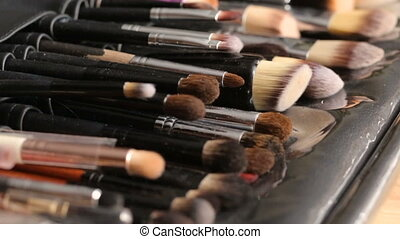 Make-up brushes collection - Side view image of professional...
