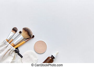 make up brushes, cosmetics and cotton swabs - natural ...