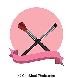 make up brushes crossed elements icons vector illustration ...