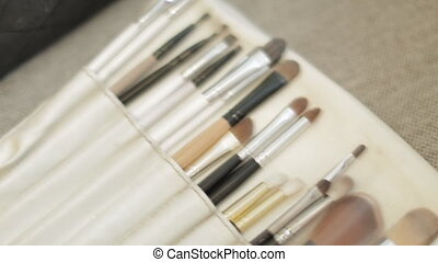 Make-up brushes in closeup