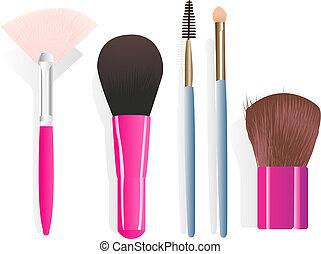 Make-up brushes - Set of five different make-up brushes. ...