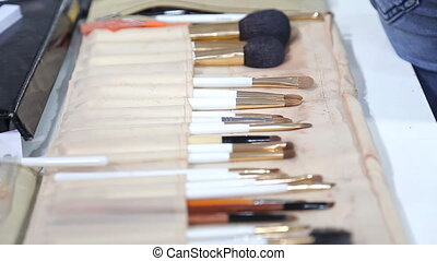 Make-up Brushes - make-up brushes in a case