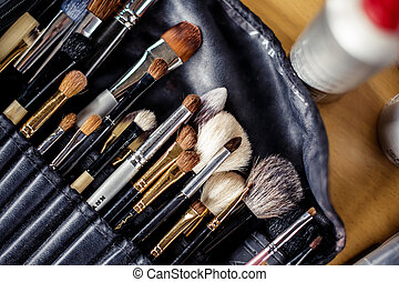 Make-up brushes - Make up brushes in black leather bag