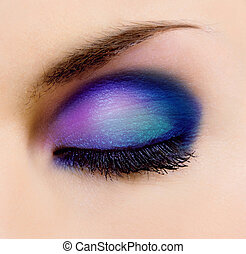 make up - closeup of female eye with beautiful make-up