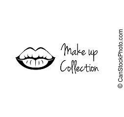 Make Up Collection. Monochrome black and white lips line art vector