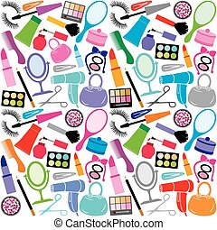 make up collection background (make up collection seamless pattern, beauty and makeup set, cosmetics set, cosmetic products background design)