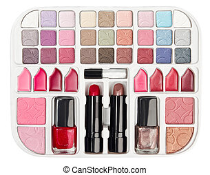 Make-up collection with lipstick and blush palette isolated on white