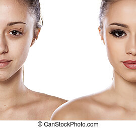 Comparision side by side portrait of a girl without and with makeup