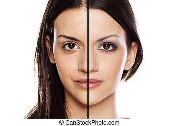 make up - Comparision side by side portrait of a girl...