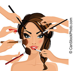 Make up concept - Many hands with cosmetics brush doing make...