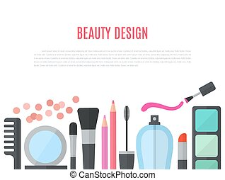 Make up concept vector flat illustration with cosmetics,...