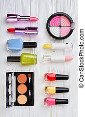 Make up cosmetics set, top view.