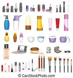Make up Cosmetics - vector illustration of set of make up ...