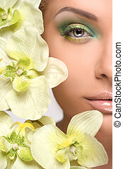 Make-up. Cropped image of beautiful young women with make-up...
