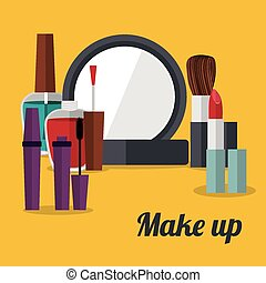 Make up design over yellow background, vector illustration
