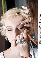 Make-up. Eye shadow brush
