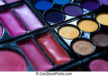 Make-up eye shadows palette, closeup