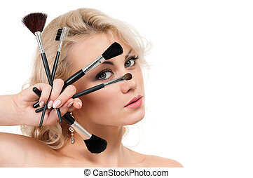 Make-up girl - Portrait of young beautiful woman with makeup...