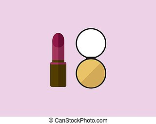 Make up, illustration, vector on white background.