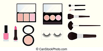 make up kit cosmetics set on white background vector