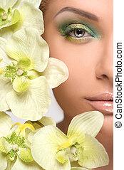 make-up., kupiert, bild, von, schöne , junge frauen, mit,...