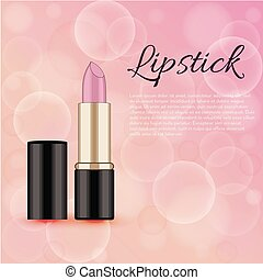 Make up lettering, Pink lipstick, vector isolated illustration on white background