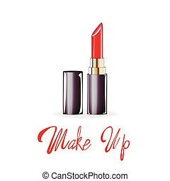 Make up lettering, Red lipstick, vector isolated illustration on white background