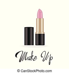 Make up lettering, Rose lipstick, vector illustration on white background