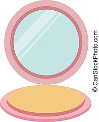 Make up mirror, illustration, vector on white background.