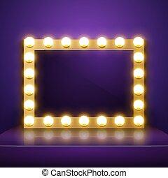 Make up mirror with light. Vector artist dressing room....