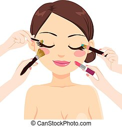 Beautiful brunette model woman with many hands makeup brushes and lipstick