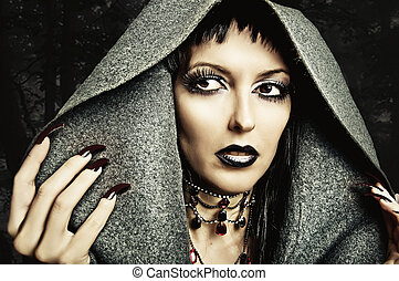 make up, nails of sexy evil witch - Halloween style - ...
