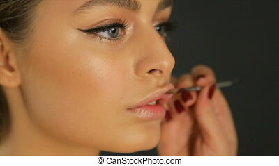 Make up of female lips