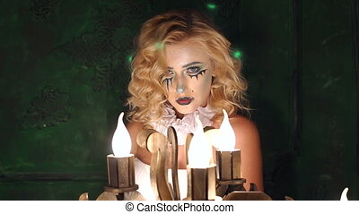 Make-up of horror movie actors, Make-up Girl on Halloween in a Studios. Slow mo