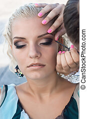 make-up., ombra occhio, spazzola