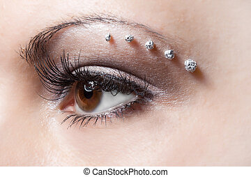 make-up on woman eye