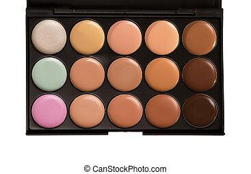 make-up, palet, concealer, ongeveer, witte
