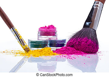 Make up powder and brushes - Makeup powder of different...