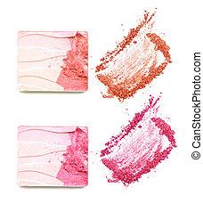 make up powder on white background
