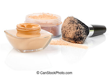 make up powder on white background
