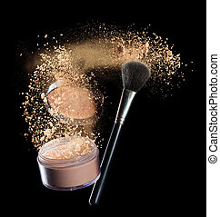 make-up powder - Isolated make-up powder with brush on black...
