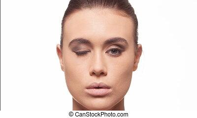 make-up process woman timelapse