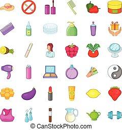 Make up product icons set, cartoon style