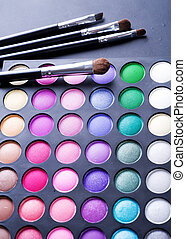 make-up., professioneel, eyeshadows, palet, veelkleurig