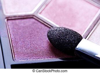 make-up, professioneel, schaduw, oog, closeup.