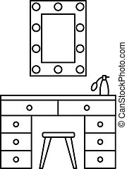 Make up room mirror table icon, outline style - Make up room...