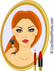 make-up  - sample makeup and a brush for blush