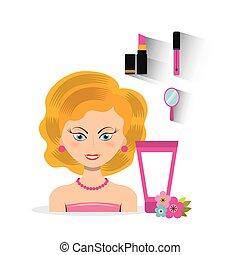 make up set flat icons